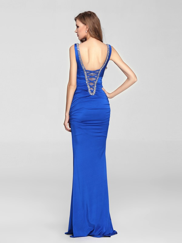 Sensual Mermaid V-Neck Beading Floor Length Blue Evening Dress