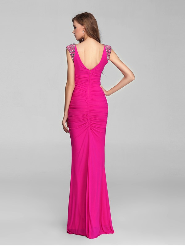 Stunning V-Neck Straps Beads Sheath Floor-Length Evening Dress