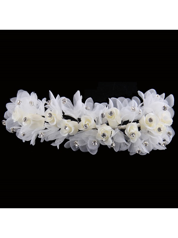 Fancy Beaded Lace Floral Hand-made White Wedding Hair Flower
