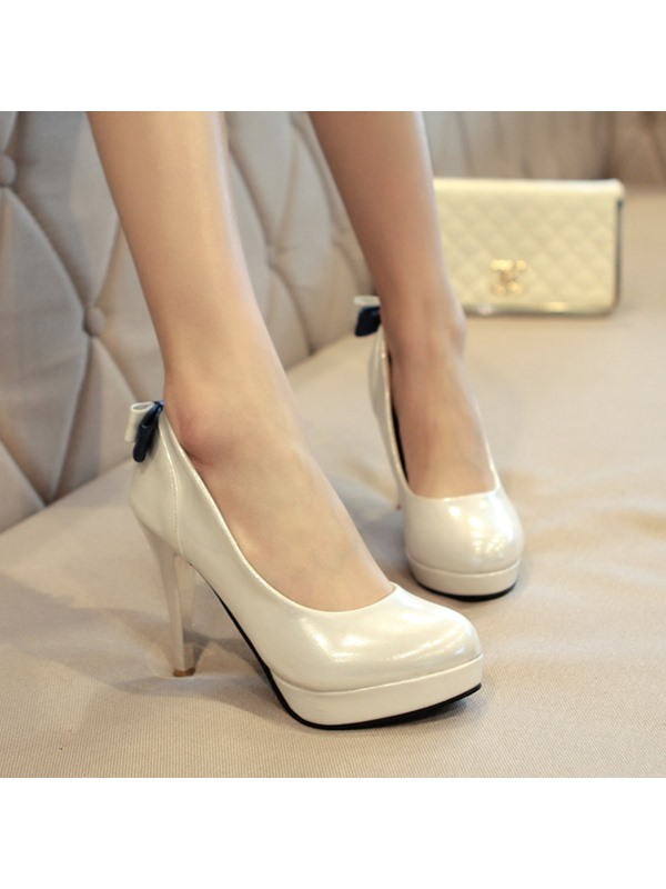 Vintage Solid Color Closed-Toe Bownot Stiletto Heel Pumps
