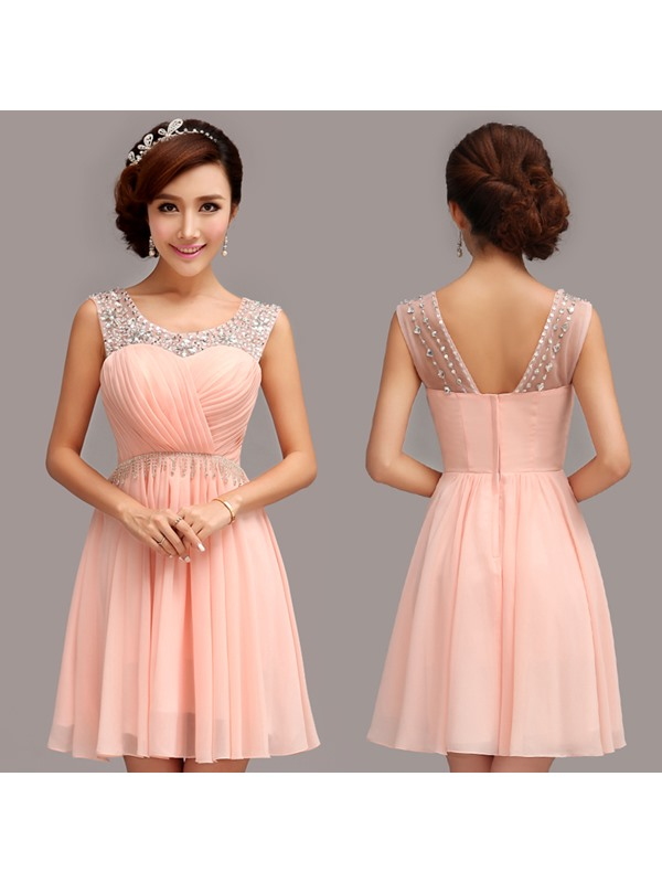 Modern Scoop Neck A-Line Pleats Beading Short Homecoming Dress