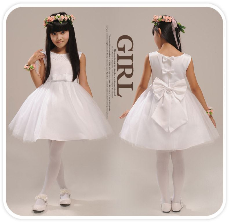 Cute Scoop Neck Zipper-Up Knee-Length Bowknot Flower Girl Dress With Jacket/Shawl