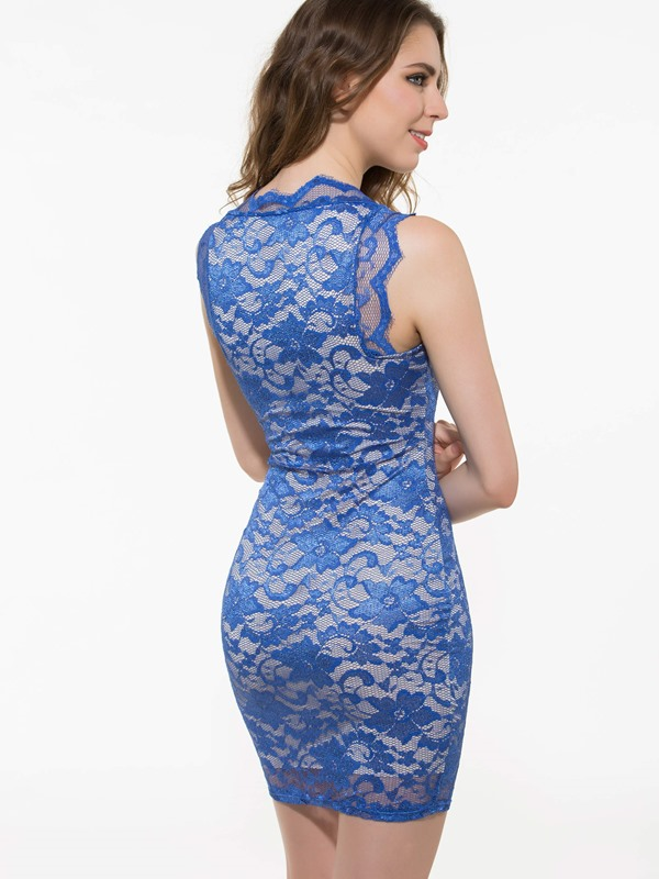 Blue Lace Jacquard Sleeveless Sheath Dress (Free Shipping)