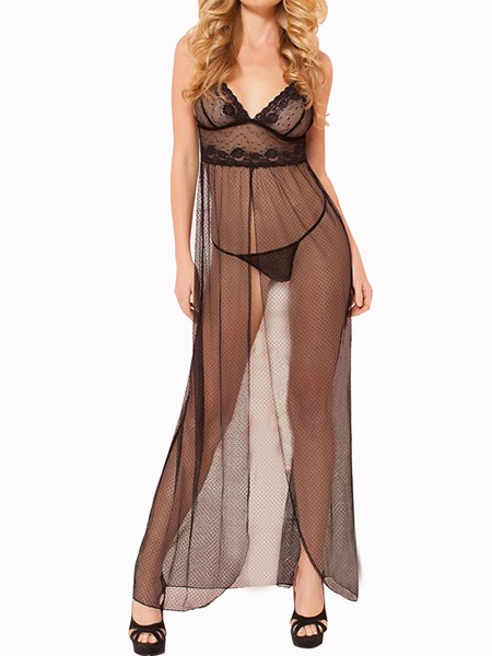 Black Strap Deep V-Neck Sheer Mesh Split Rompers