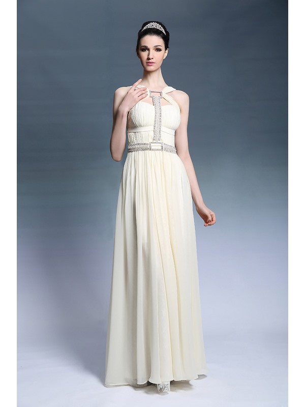 Modern A-Line Sleeveless Pearls Crystal Ruched Floor-Length Evening Dress
