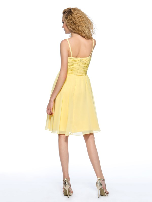 Simple Style A-Line Spaghetti Straps Pleats Sequins Knee-Length Homecoming Dress