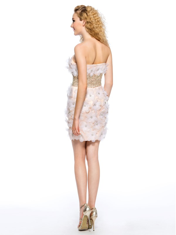 Strapless Flowers Crystal Column Short Homecoming Dress