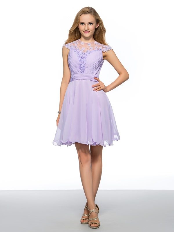 Vigorous A-Line Cap Sleeves Jewel Neck Flowers Beading Short Homecoming Dress