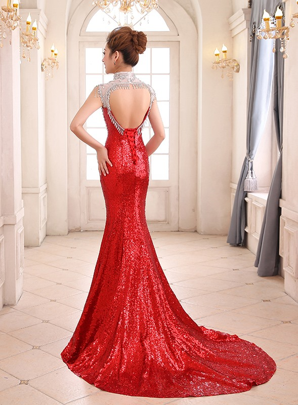 Luxurious High Neck Sequins Crystal Backless Evening Dress