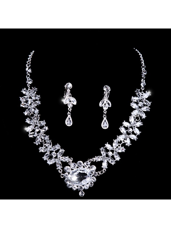 Great Great Shinning Rhinestone Wedding Accessories Wedding Jewelry Set(Include Necklace and Earring )