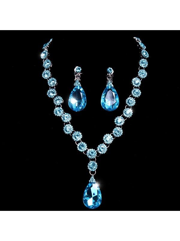 Preety Elegant Diamante Blue Wedding Jewelry Set(Include Headflower Necklace and Earring )