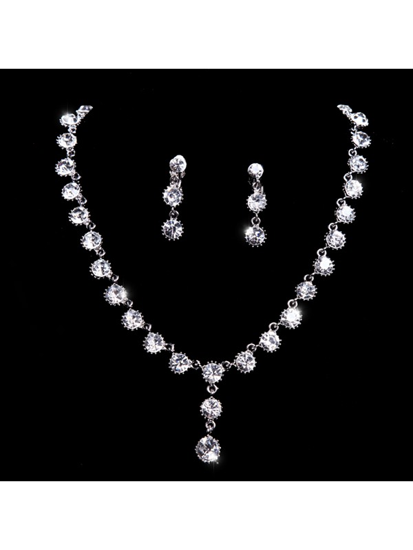 Preety Rhinestone Wedding Jewelry Set Wedding Dress Accessories(Include Frontlet Necklace and Earring )