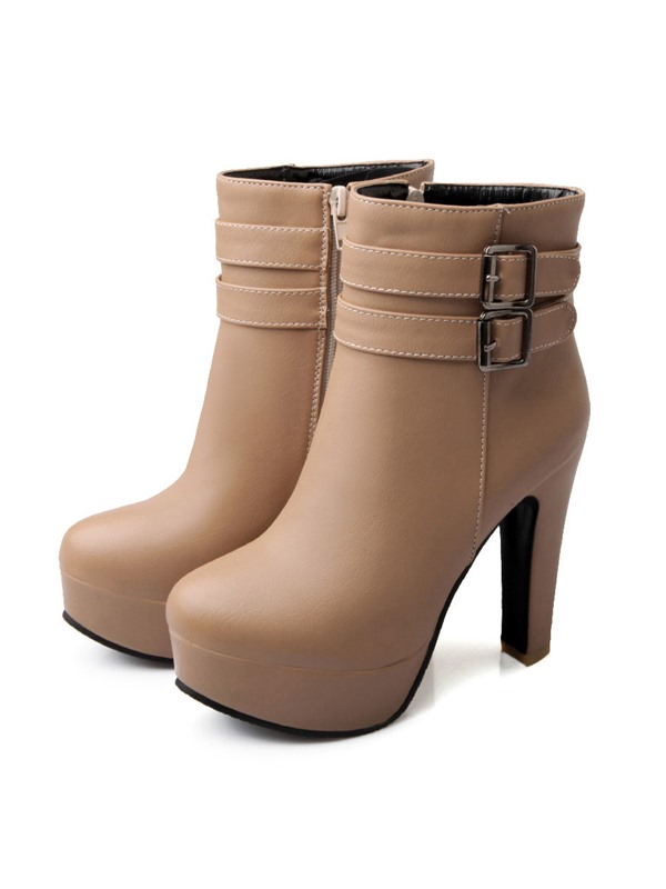 PU Side Zipper With Buckle Stiletto Heel Ankle Boots