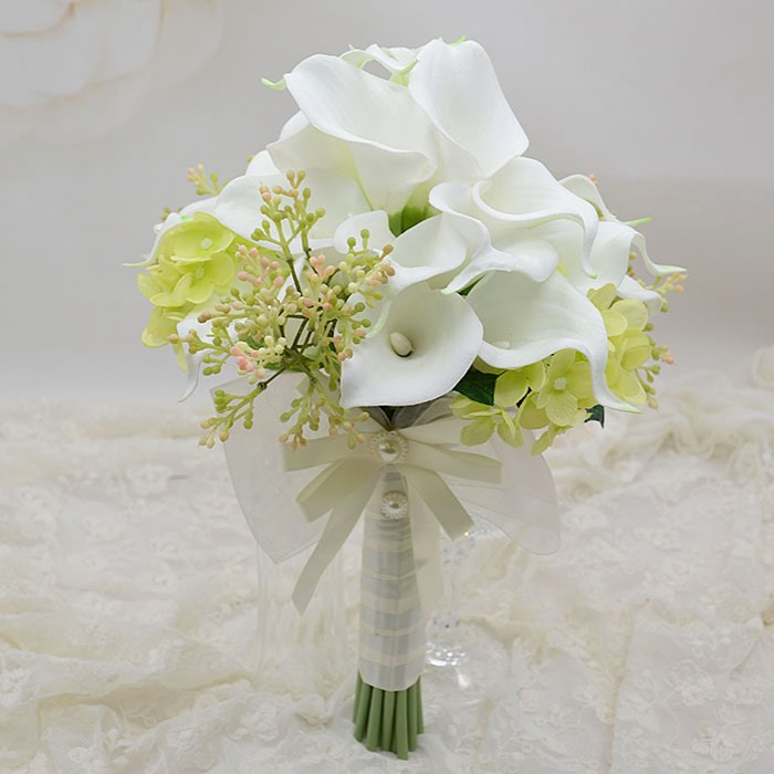 Delicate White PU Feel Calla Lily Flower Wedding Bouquet