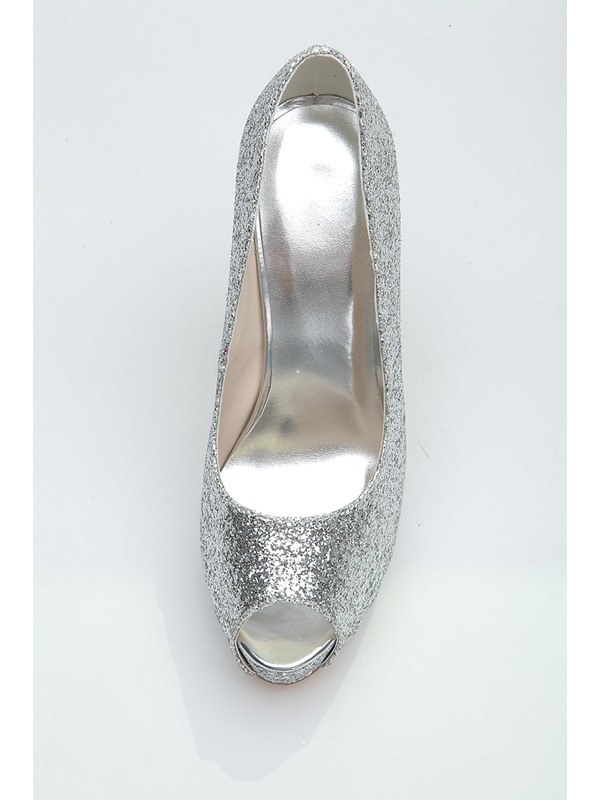 Simple Style Silver Sequins Peep-toe Platform Wedding Shoes