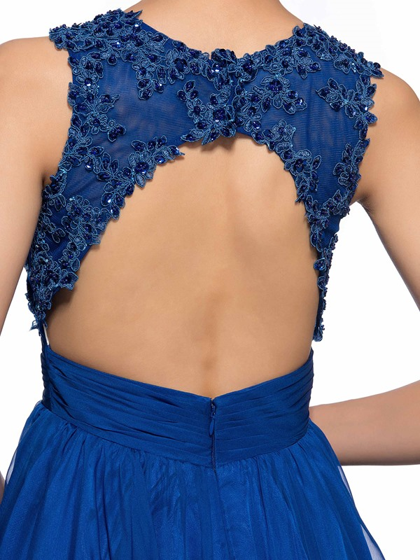 Modern Jewel Neck Appliques Backless Short Homecoming Dress