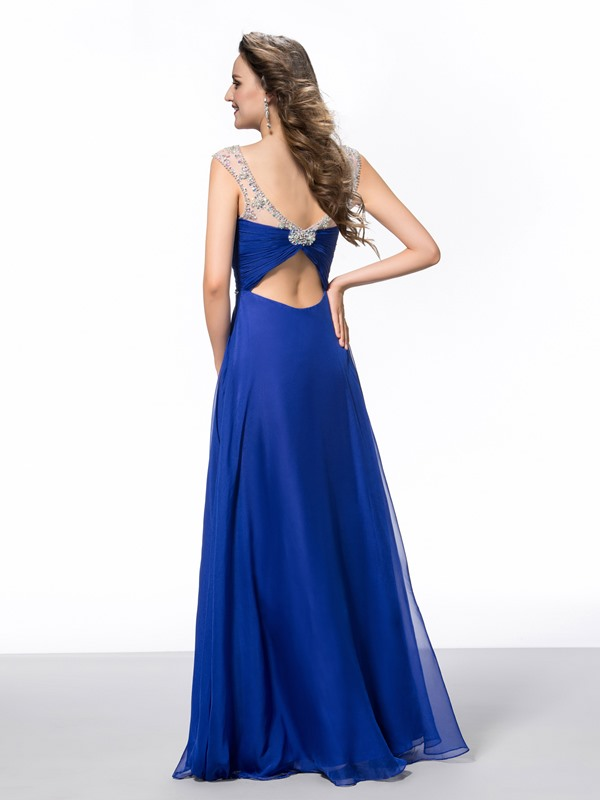 A-Line Square Neckline Beading Ruched Floor-Length Evening Dress(Free Shipping)