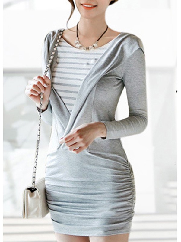 New Korean Round Neck Fake Two Pieces Slim Dress
