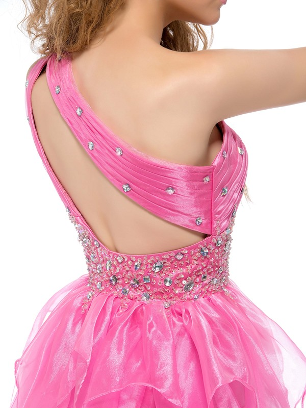 Cute One-Shoulder Beading Tiered A-Line Short Homecoming Dress