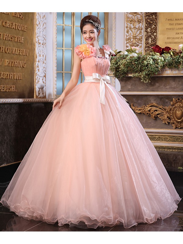 Dramatic A-Line Straps Crystal Shshes/Ribbons Long Quinceanera Dress