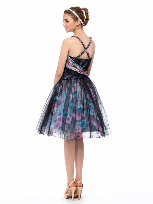 Stylish A-Line Spaghetti Straps Floral Print Knee-Length Party/Homecoming Dress