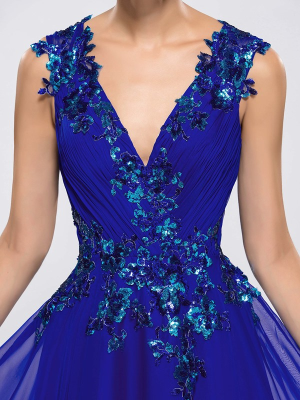 V-Neck A-Line Sequined Appliques Long Evening Dress Designed (Free Shipping)