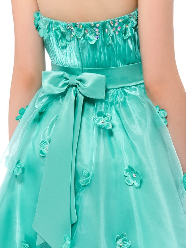 Enchanting A-Line Strapless Flowers Beading Short Homecoming Dress