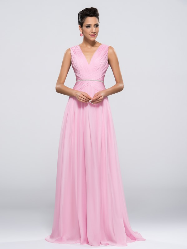 Simple Style V-Neck A-Line Ruched Floor Length Zipper-up Evening Dress Designed