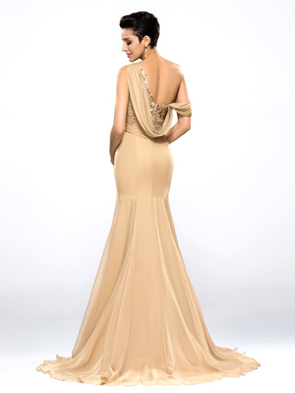 Hot Selling One Shoulder Appliques Split-Front Long Evening Dress Designed (Free Shipping)