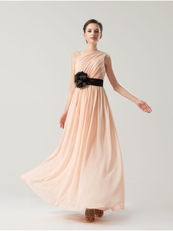 Simple Style Floor Length A-Line One Shoulder Bridesmaid Dress