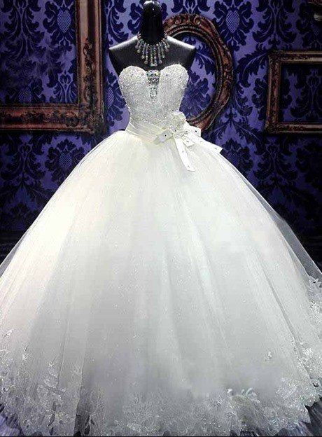 Beaded Sweetheart White Tulle Ball Gown Wedding Dress(Free Shipping)