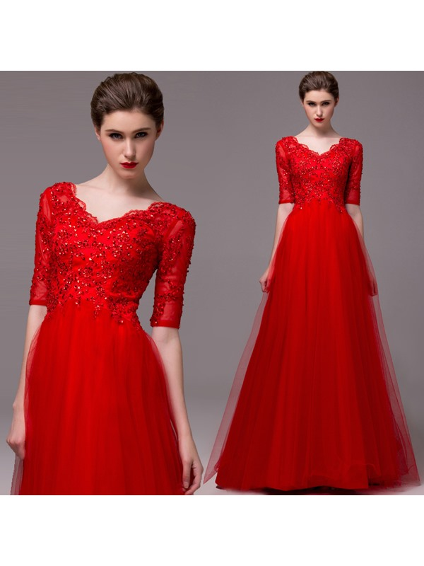 A-Line Half Sleeves Appliques Sequins Floor-Length Evening Dress