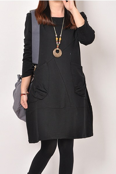 Yellow Long Sleeve Round Neck Double Pockets Dress