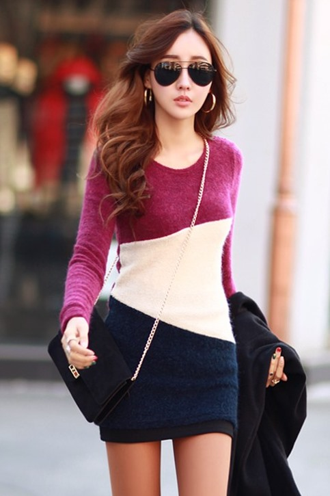 Chic Contrast Color Long Sleeve Round Neck Cotton Sheath Dress