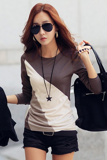 Contrat Color Long Sleeve Round Neck T-Shirt