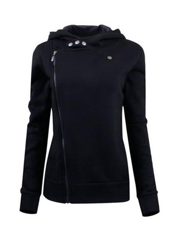 Cool Solid Color Wide Lapel Zip-Front Hoodie