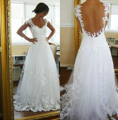 V-Neck Cap Sleeves Lace Appliques Floor Length Backless Wedding Dress(Free Shipping)