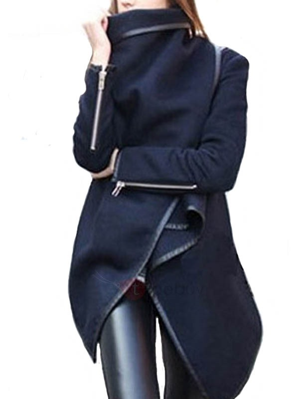 Stylish Asymmetrical Hem Lapel Trench Coat