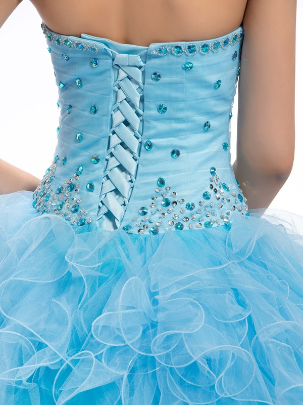 Great Sweetheart Beading Cascading Ruffles Lace-up Floor Length Quinceanera Dress