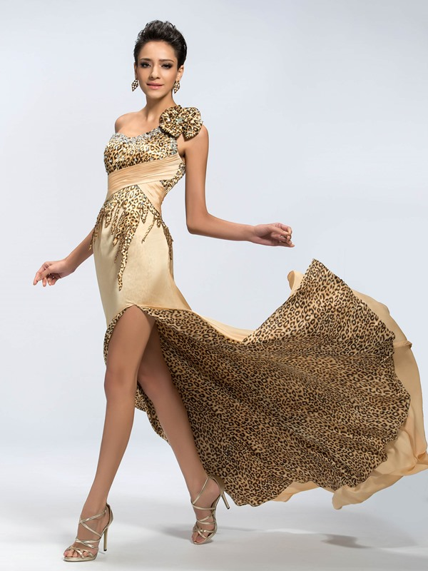Sensual One-Shoulder A-Line Beading Leopard Print Split-Front Long Evening Dress