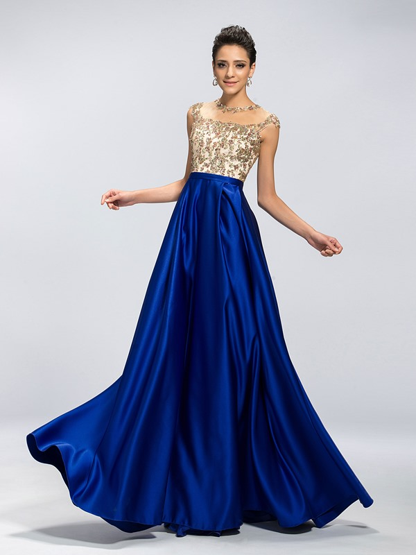 Eye-catching A-Line Jewel Neck Appliques Long Evening Dress Designed