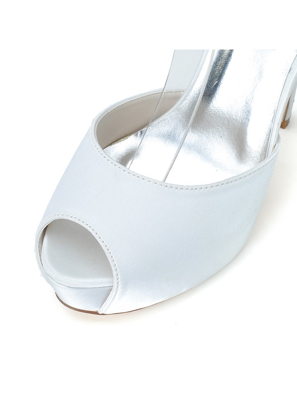New Shinning Pure Color High Heels Open Toe Satin Wedding Shoes