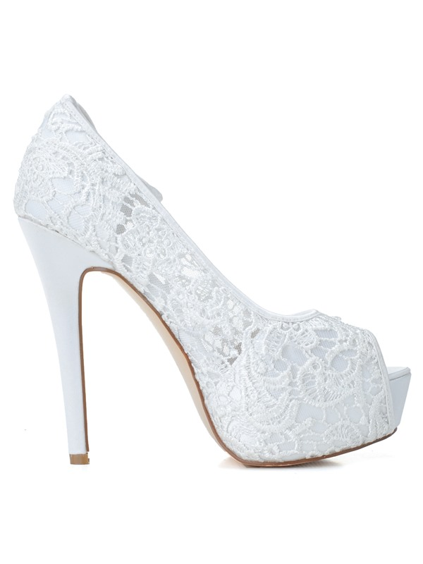New Shinning Pure Color High Heels Open Toe Lace Wedding Shoes