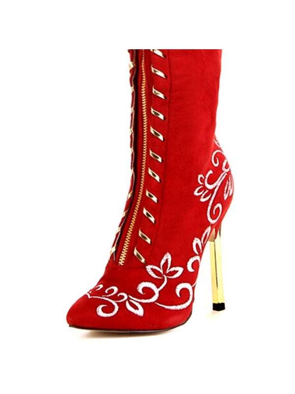 Red Lace-Up Point Toe Stiletto Heel Long Boots