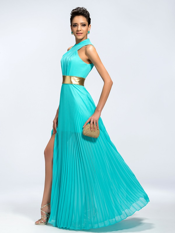 Trendy A-Line  Split-Front Long Evening Dress(Free Shipping)