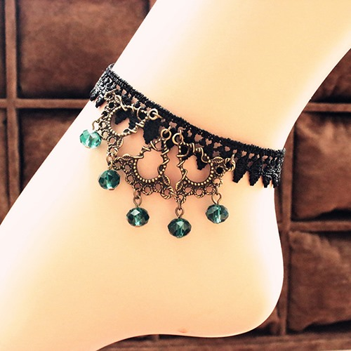 Vintage Bohemia Style Lace with Crystal Handmade Women's Anklet
