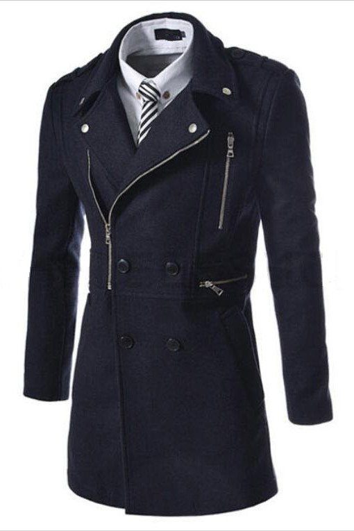 Lapel Double-Breasted Long Overcoat