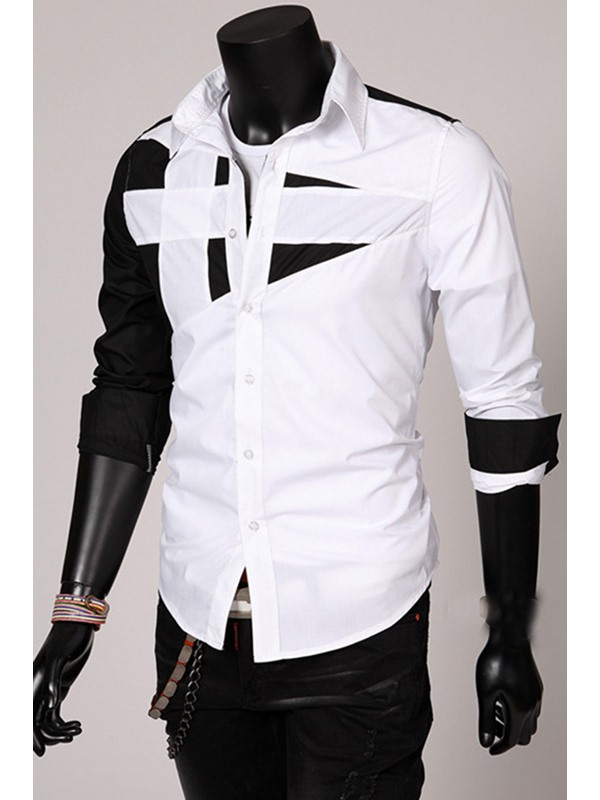 Contrast Color Turn-down Collar Men's Casual Shirt