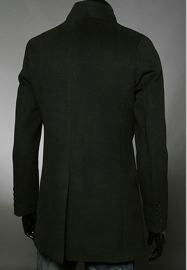 Stand Collar Long Sleeve One-Button Overcoat
