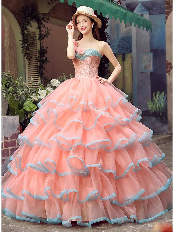 Dramatic One-Shoulder Flowers Lace Beading Tiered Lace-up Quinceanera Dress
